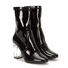 LADIES PATENT SHINY BLACK NUDE ANKLE BOOTS CLEAR PERSPEX BLOCK HEEL WOMENS SIZE