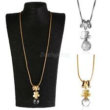 Silver Gold Plated Crystal Flower Pendant Long Chain Sweater Necklace Jewelry