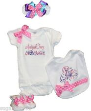 Personalized Baby Girl White Butterfly Onepiece, Bib, Booties, HB & Bow Free Shp