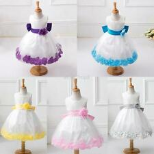 Girl's Kid's White Wedding Pageant Bridesmaid Children Petals Party Flower Dress