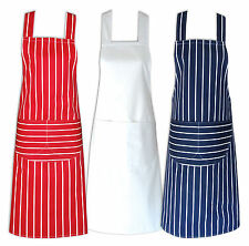CHEFS APRON 100% COTTON CATERING WITH BIB POCKETS COOKING BBQ CHEF APRONS