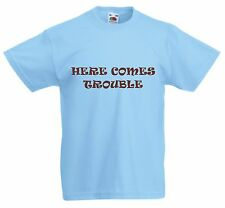 HERE COMES TROUBLE New Kids funny cartoon Fruit of the Loom crew neck T Shirt.