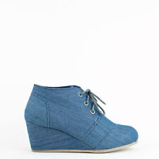 Womens Blue Denim Lace-Up Wedge Bootie Bamboo Paddy-01