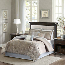 Deluxe Blue Brown Jacquard Motif Comforter Embroidery Cal King Queen 7 pcs Set