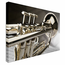 Trumpet On Musical Notes Canvas Wall Art prints high quality
