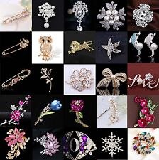 Gold/Silver Enamel Rhinestone Crystal Flower Wedding Bridal Bouquet Brooch Pin
