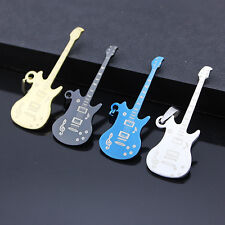 New Men Stainless Steel Music Guitar Pendant Necklace Charm Chain Jewelry Gift
