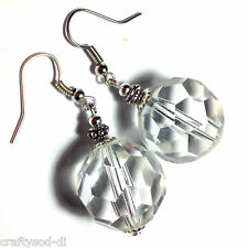 Large Glass Crystal Ball Style Silver Earrings