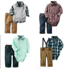 NWT Carter's Infant Boy Dress Shirt Tie and Pants CHURCH Outfit Set NB - 24 Mo.