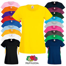 Fruit Of The Loom LADIES T-SHIRT PLAIN TEE TOP LADY FIT NECK COTTON WOMEN XS-2XL