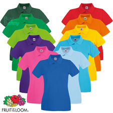 Fruit Of The Loom LADIES POLO SHIRT FITTED FIT COTTON COLLAR SMART CASUAL XS-2XL