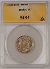 1936-D Buffalo Nickel 5C Coin ANACS MS-64 (1)