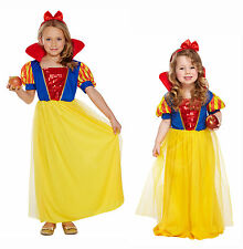 Snow White Fairy Tale Dressing Up Costume Fancy Dress Girls Toddlers 3-12 Yrs