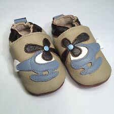 100% Natural Leather Crib Shoes by ShooShoos of South Africa - Tan Helicopter