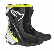 Alpinestars SUPERTECH R Black/White/Fluo Yellow Motorbike Racing Boots