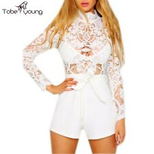 Sexy Hollow Out Crocheted Lace High Waist Summer Short Rompers Jumpsuit Playsuit