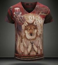 New Mens vintage Lycanthrope Print Casual Cotton V-Neck Short sleeve Tee T-Shirt