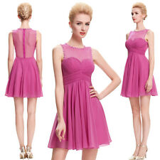 Lady Womens Short Chiffon Bridesmaid Formal Ceremony Evening Prom Party Dress UK