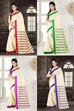 INDIAN ART SILK SARI SAREE WITH BLOUSE PIECE DESIGN DECOR 4 COLOR SAREE