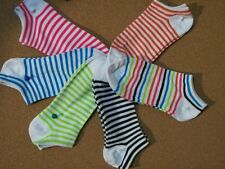 womens multi-color striped no show athletic sock size 9-11 shoe 4-8 gift idea a