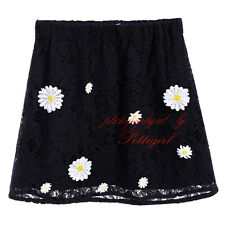 Kids Girls Black Embroidery Flower Skirts Elastic Waist Summer Floral Clothes