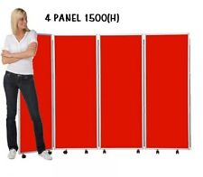 Mobile Concertina Folding Room Divider, 4 panel, 1500mm high, Nyloop Fabric