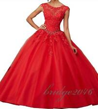New Red Ball Gown Quinceanera Dress Lace Prom Dress Formal Bridal Gowns Wedding
