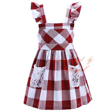 Kids Girls Dress Toddler Casual Cotton Plaid Lace Clothes Birthday Wedding Party