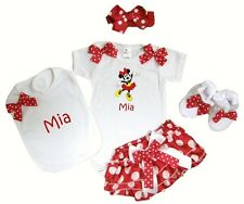 Personalized Dancing Minnie Baby Girl Onezee, Diaper Cover, Bib, Booties & HB