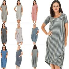 New Womens Italian Quirky Short Sleeve Stripe Lagenlook Dress Plus Size 12 16 20