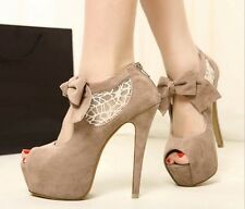 New Lace Bowknot Wedding Platform Stilettos Pump Women Peep-toe High Heels Shoes