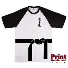 Karate Belt and Karate Text in Japanese White/Black Baseball T-Shirt