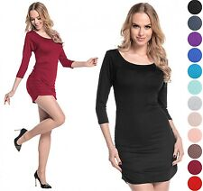 Glamour Empire Women's Stretch Jersey Ruched Top Tunic Mini Dress UK 6-16. 973