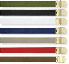 "Web Belt Cotton 1.25"" Adjustable Military Style 44 inch Adjustable All Colors"