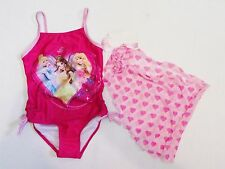 NWT Girls 4 5 Disney Princess Princesses Pink Swimsuit Swimwear Swim Cover Swim