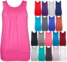 WOMENS NEW PLAIN STRETCH CASUAL U VEST LADIES GATHERED SLEEVELESS LONG TOP 14-18