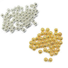 100x Filigree Round Spacer Beads Loose Charms Jewelry Findings Silver Gold 6/8mm
