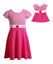 """Dollie & Me Girl 4-6 and 18"""" Doll Matching Pink Dress Clothes fit American Girls"""