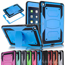 for Apple IPAD MINI 4 Rugged Heavy Duty Kickstand Protect PC+Rubber Cover Skin