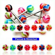 Tongue Bars Surgical Steel with coloured 6mm Swirl Balls in1.6mm x 16mm Barbells