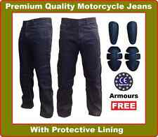 Mens Motorbike Motorcycle Denim Trousers Jeans Pants with Protective Lining