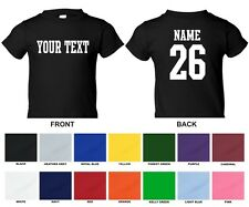 Custom Name & Number Personalized Toddler T-shirt, Choose Text STRAIGHT TEXT