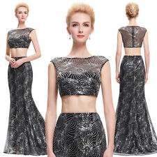 Women Wedding Sexy Sequined Two-Piece Set Gown Evening Prom Party Dress Mermaid