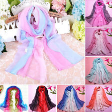 Women's Fashion Scarf Gradient Color Long Chiffon Silk Scarves Wrap Shawl Stole