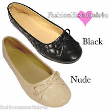 Womens Flats Black Nude Ballerina Ballet Shoes Cute Work Casual Round Slip On