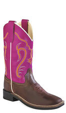 Old West Dark Pink Childrens Girls Leather Broad Square Toe Cowboy Boots