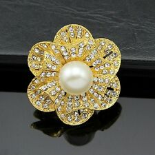 Crystal Rhinestone Wedding Bridal Bouquet Flower Faux Pearl Silver Brooch Pins