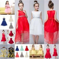 Kid Girl Princess Lace Trailing Sleeveless Pageant Wedding Bridesmaid Tutu Dress