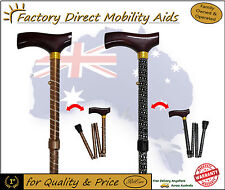 NEW! Engraved Folding Walking Stick Black Bronze Beautiful design!