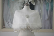 Faux Fur Bridal Tassel Wrap Cape Stole Bolero bridal coat Winter Wedding Shawl